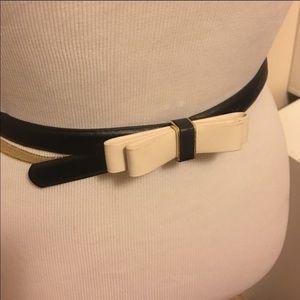 NWT Ann Taylor black cream bow skinny belt sz sm
